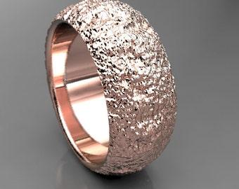 Redwood Tree Bark Mens Rose Gold Wedding Ring , Rose Gold Mens Wedding Band Wood, 7mm wide Wedding Band, Size 9 Ring, Size 11 Ring