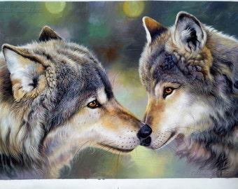 b645b5ba383 Sweet Gray Wolf couple portrait-haute qualité 100% peint à la main peinture  à l huile