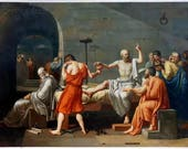 The Death of Socrates - Jacques Louis David hand-painted oil painting reproduction,Greek prison scene,Neoclassical art,study room decoration