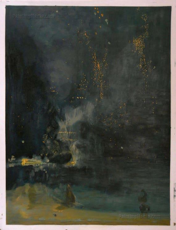 Notturno In Nero E Oro The Rocket Falling Riproduzione Di Etsy