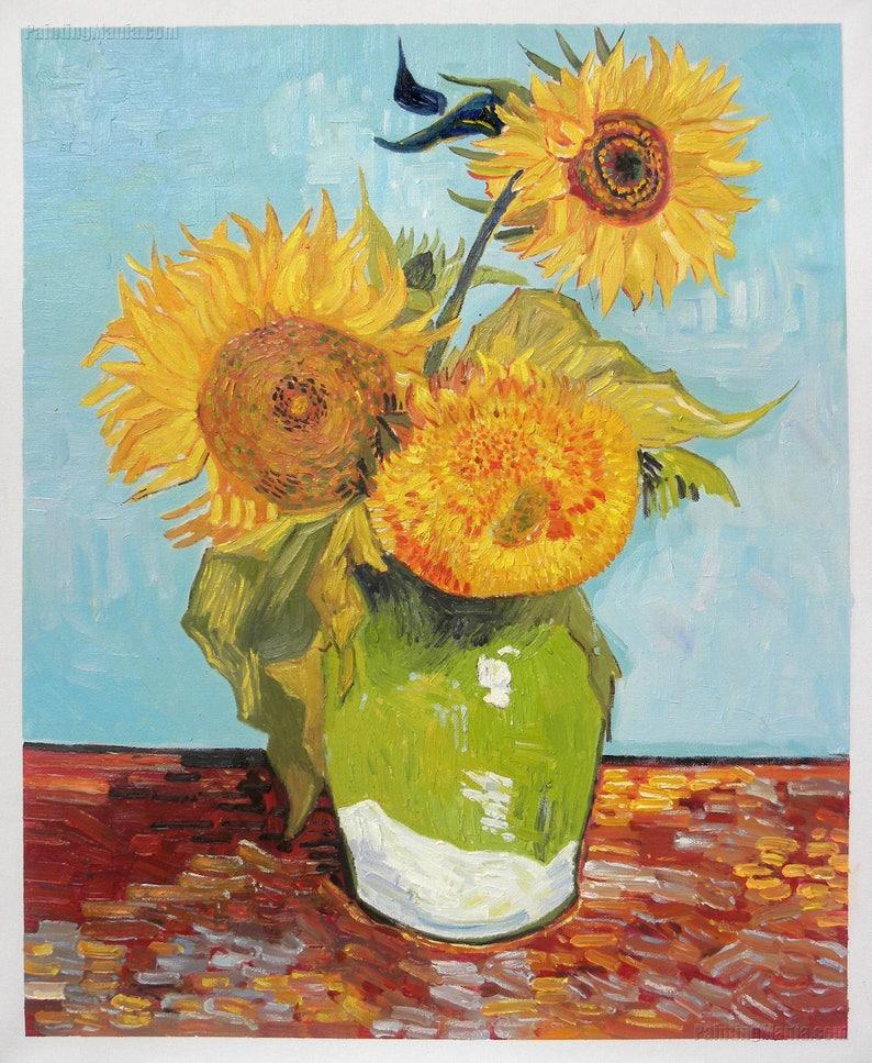 Drei Sonnenblumen In Einer Vase Vincent Van Gogh Handgemalte Etsy