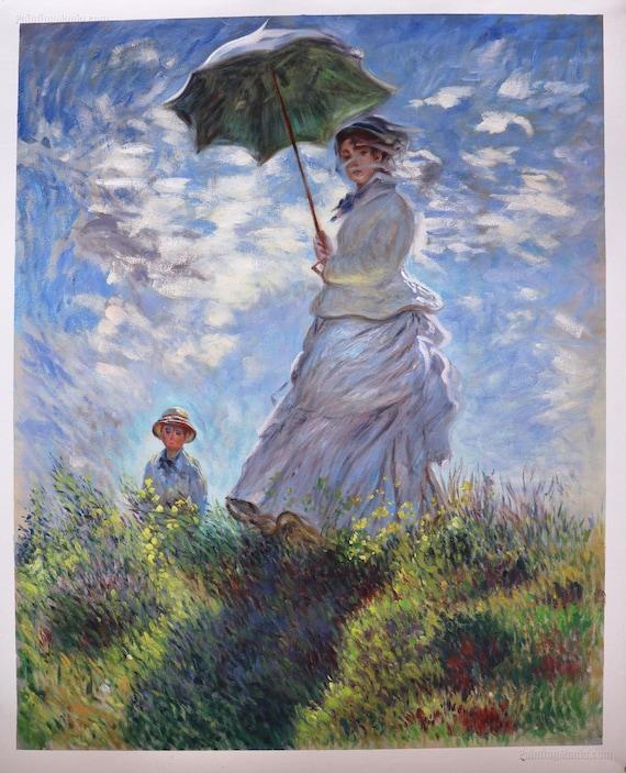 Donna con una parasole Madame Monet e suo figlio Claude Monet dipinto a mano olio pittura riproduzione, arte della parete orizzontale di grandi