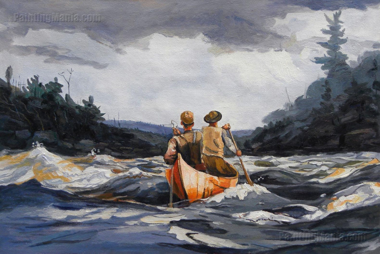 Canoa en los rápidos-reproducción de pintura al óleo pintada a