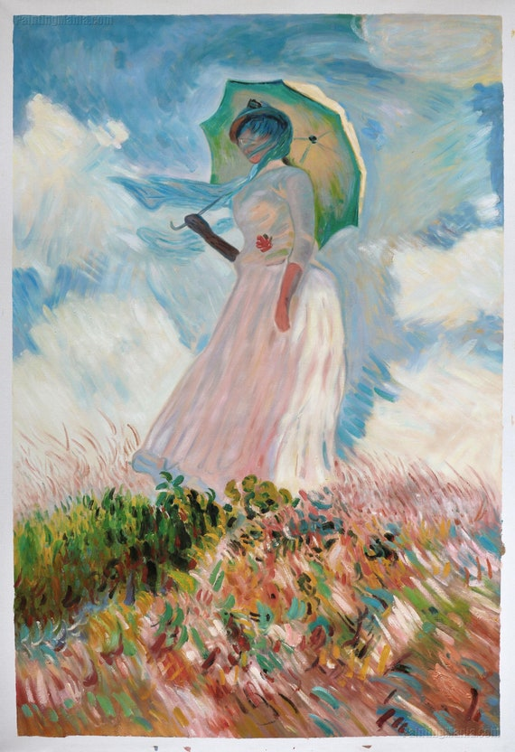 Woman With A Parasol Facing Left Claude Monet Hand Painted Etsy