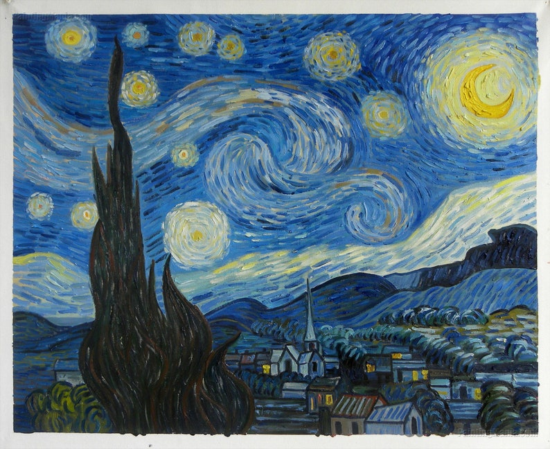 The Starry Night Vincent Van Gogh Hand Painted Oil Painting Reproductionfamous Artworknight Landscapeliving Room Wall Arthome Decor