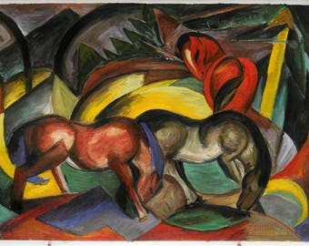 Three Horses - Franz Marc hand-painted oil painting reproduction,Cubism animal art,wild horses grazing on fields in a peaceful manner scene