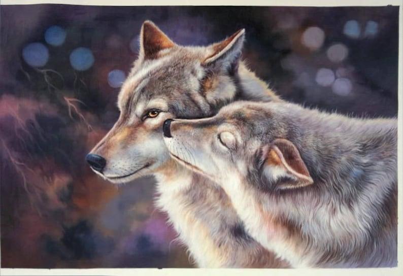6e16a449ac9 Couple de loup en amour Portrait de haute qualité 100 %