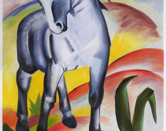 Blue Horse I - Franz Marc hand-painted oil painting reproduction,masculine horse tilts his head,abstract big animal,living room large decor