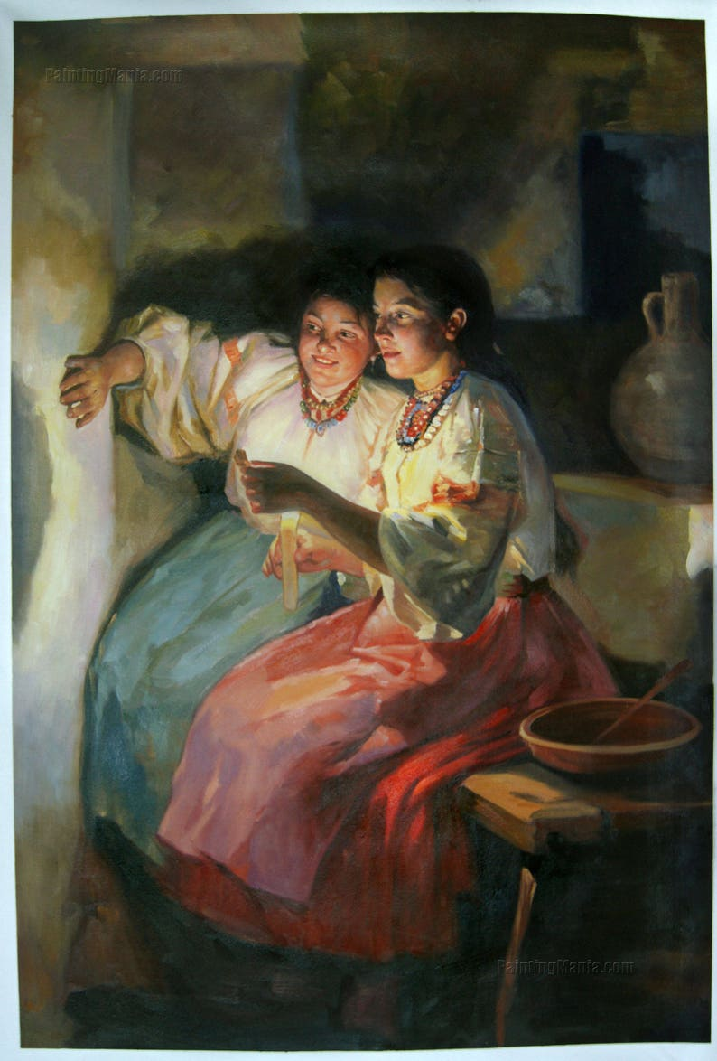 Yuletide Fortune Tellers Mykola Pymonenko hand-painted oil painting Reproduction,Russian Christmas Fortune Tellers,Portrait of Two Girls