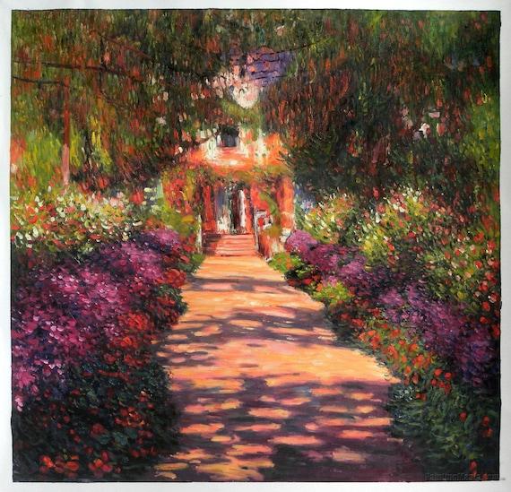 Percorso nel giardino di Monet a Giverny arte di Claude Monet dipinto a mano olio pittura riproduzione, Home Garden fiore paesaggio, soggiorno