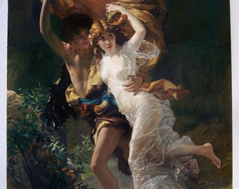 The Storm - Pierre Auguste Cot hand-painted oil painting Reproduction,two young lovers running scene,bedroom large wall art,valentine's gift