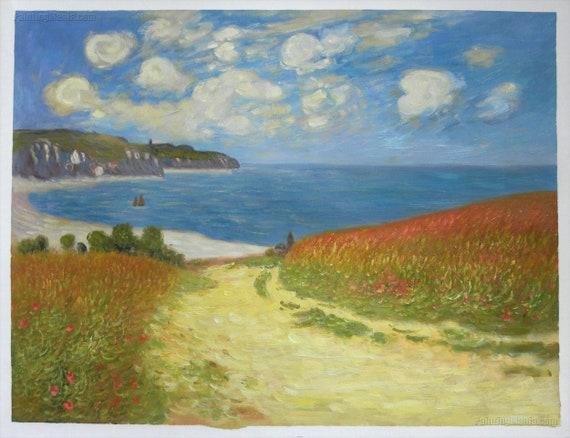 Percorso attraverso il mais a Pourville riproduzione dipinti a mano olio su tela di Claude Monet, brillante giornata estiva sulla spiaggia paesaggio