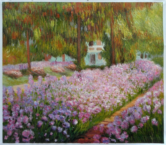 Iridi nel giardino di Monet riproduzione dipinti a mano olio su tela di Claude Monet, iris letti nel frutteto, opulenza lussureggiante di fiori,