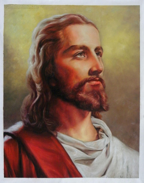 Jesus Christ Portrait High Quality Hand Painted Oil Painting Etsy