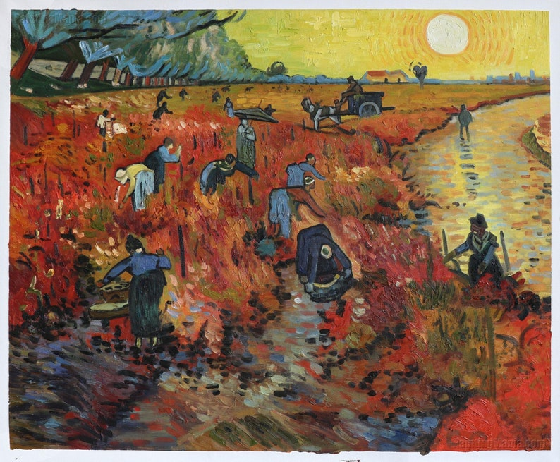 The Red Vineyards Near Arles Vincent Van Gogh Hand Painted Oil Painting Reproductiona Group Of Harvesters Working In Fields During Sunset