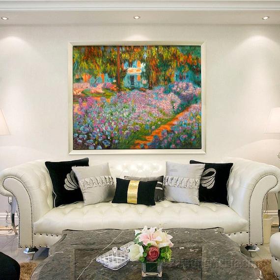 Iridi nel 1900 di giardino di Monet riproduzione dipinti a mano olio su tela di Claude Monet, opulenza lussureggiante di fiori, opera di grande