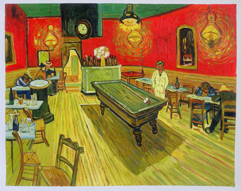The Night Cafe   Vincent Van Gogh Hand Painted Oil Painting  Reproduction,billiards Table,dinning Room Wall Decor,coffee Room Wall  Decoration