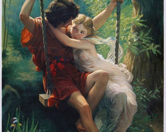 The Swing (Springtime) - Pierre Auguste Cot hand-painted oil painting Reproduction,two young lovers sitting upon a swing,bedroom decorations