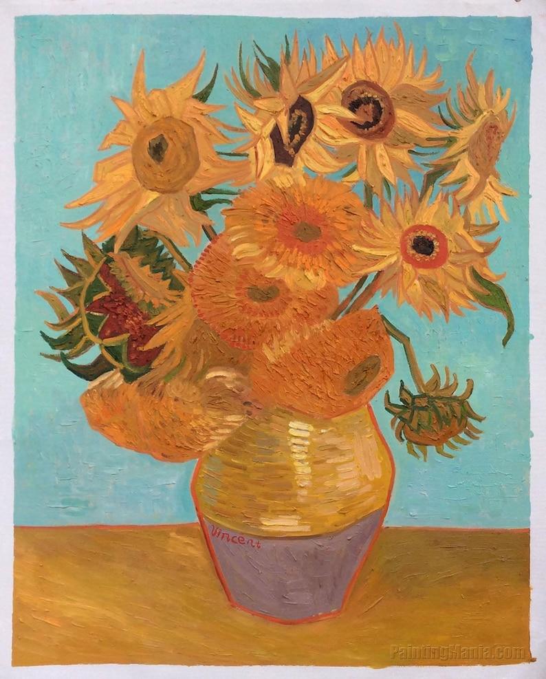 Stillleben Vase Mit Zwölf Sonnenblumen Vincent Van Etsy