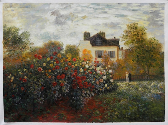 Monet's Garden at Argenteuil Claude Monet hand painted oil painting reproduction,vibrant blossoming flower garden landscape in bright sun