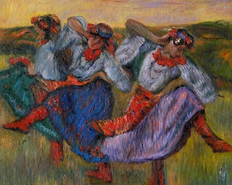 Russian Dancers - Edgar Degas oil painting reproduction, Celebrating Dance Festival,elaborate folk costumes of Ukrainian peasant dancers art