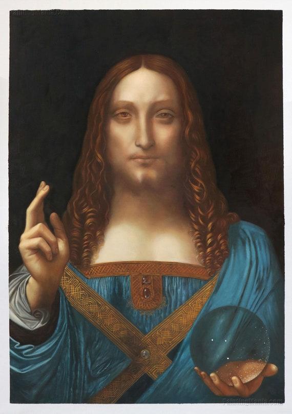 Salvator Mundi - Leonardo da Vinci hand-painted oil painting  reproduction,Portrait of Christ by the Renaissance,Savior of the World  painting