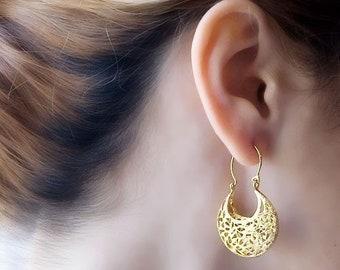Gold Filigree Earrings, Filigree Hoop Earrings, Victorian Earrings, Gypsy Earrings, 14K Gold Earrings, Sterling Silver ,Boho Chic Earrings