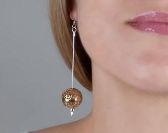 Silver Gold Ball Earrings, Long Drop Earrings, Filigree Earrings, Gold Silver Dangle Earrings, Modern Filigree Earrings, Dainty Long Earring