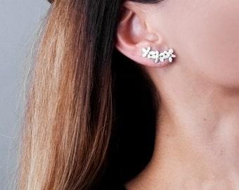 Flowers Ear Climbers, Ear Cuff Silver, Sterling Silver Earrings Crawlers, Climbing Earrings, Cuff Climbers, Bridal Earrings, Gold, Rose Gold