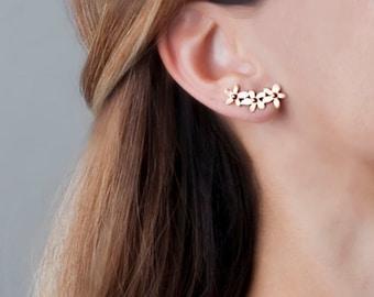 Boho Earrings Crawler, Rose Gold Ear Climber, Gold Flower Earrings, Pin Earrings, Flower Climber Earrings, Ear Cuff Earring, Sterling Silver
