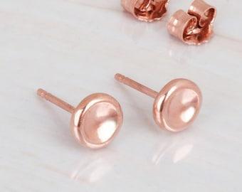 Pebbles Earring, Rose Gold Stud Earrings, Dainty Post Earrings, Coin Studs, Minimalist Earrings, Sterling Silver, Gold, 14K Rose Gold Studs