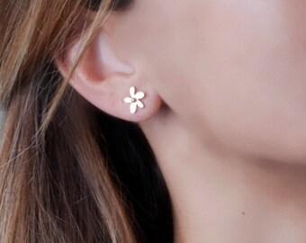 Flower Earrings, Flower Stud Earrings, Rose Gold Flower Earring, Delicate Earrings, Bridesmaid Gift, Dainty Studs, Sterling Silver, Gold,