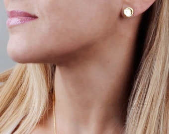 Coin Earrings, Circle Stud Earrings, Large Post Earrings, Gold Stud Earrings, Delicate Earrings, Pebble Earrings, Sterling Silver, Rose Gold