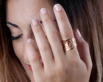 Rose Gold Filigree Ring, Rose Gold Ring, Ethnic Ring, Indian Ring, Metal Lace Ring, Sterling Silver, Gold, 14K Gold Ring, Boho Chic Ring