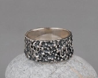 Oxidized Silver Ring, Mens Band Ring, Oxidized Wedding Band, Unique Wedding Ring, Sterling Silver Ring, Black Silver Ring, Wide Band Ring
