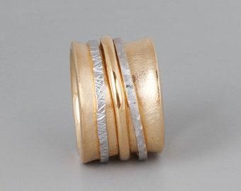 Wide Spinner Ring, Mixed Metal Ring, Gold Silver RIng, Chunky Ring, Large Ring, Meditation Ring, Fidget Ring, 3 Band Ring, Thumb Ring Band