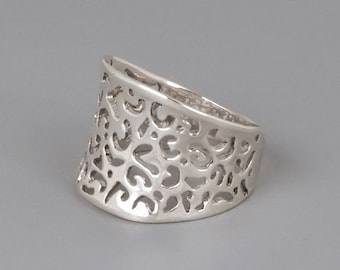 Sterling Silver Filigree Ring, Chunky Silver Ring, Statement Ring, Silver Lace Ring, Filigree Ring, Silver Ring, Victorian Ring, Wide Ring