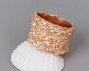 Wide Rose Gold Ring, Wide Rose Gold Band Ring, Unique Wedding Ring, Large Rose Gold Band, Wide Statement Ring, Womens Ring, Silver, Gold