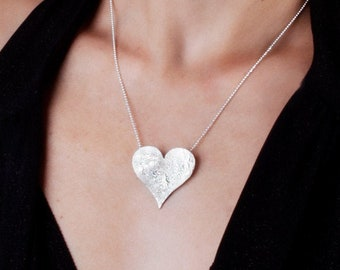 Large Heart Pendant Necklace, Sterling Silver Heart Necklace, Chunky Heart Necklace, Womens Necklace, Big Heart Necklace, Boho Necklace