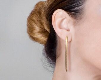 Long Bar Earrings, Stick Earrings, Long Gold Earrings, Dainty Earrings, Delicate Gold Earrings, Line Earrings, Minimal Earrings, Bar Studs