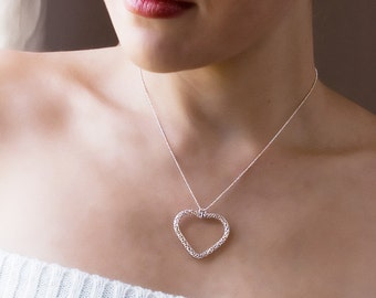Large Heart Necklace, Sterling Silver Necklace, Delicate Necklace, Silver Heart Necklace, Filigree Heart Pendant, Gift For Her, Gift For Mom