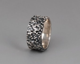 Oxidized Sterling Silver Ring, Black Silver Ring, Unique Ring, Wide Ring, Mens Ring, Women Ring, Boho Ring, Gold, Rose Gold, bumpy Ring