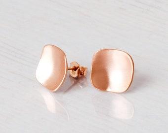 Square Stud Earrings, Rose Gold Stud Earrings, Large Studs, Geometric Earrings, Gold, Sterling Silver, Minimalist Earrings, Dainty Earrings