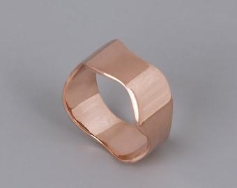 14k Rose Gold Ring, Rose Gold Wedding Band, Solid 14K Gold Ring, Womens Wedding Ring, Wedding Band, Fine Ring, Wave Ring, Delicate Ring Gold