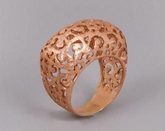 Filigree Ring, Rose Gold Ring, Victorian Ring, Lace Ring, Wide Ring, Chunky Gold Ring, Boho Ring, Statement Ring, Moroccan Ring, Mother Ring