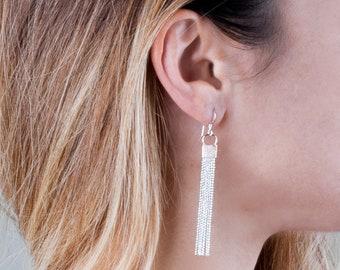 Silver Tassel Earrings, Dangle Earrings, Fringe Silver Earrings, Long Silver Earrings, Gold Silver Earrings, Minimal Earring, Chain Earrings