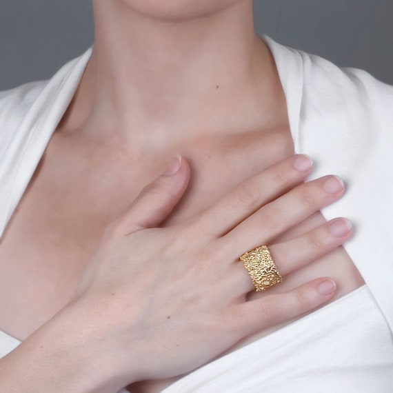 Solid 925 Sterling Argent Spinner Anneau Love Coeur doré large bande Taille 5 6 7 10