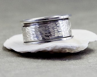Sterling Silver Spinner Ring,  Mens Ring Silver, Womens Ring, Spinning Ring, Wedding Ring, Mens Spinner Rings, Wide Band Ring, Anti Stress