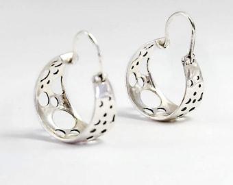 Geometric Earrings, Sterling Silver Earrings, Silver Hoop Earrings, Bubbles Earrings, Boho Earrings, Small Hoops, Circle Earrings, Gold