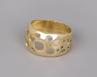 14k Gold Ring, Solid Gold Ring, Fine Jewelry, Yellow Gold Ring, Modern Ring, Unique Ring, Circle Ring, Unique Gold Ring, Geometric Ring